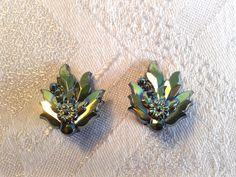 Vintage Carnival Glass, Clip On Earrings, Leaf Shape. by GothiqueGirl on Etsy