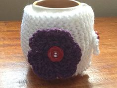 White Hand Knit Mug Hug with Purple Flowers * Check out the image by visiting the link.
