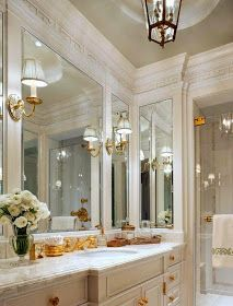 Decorate With The White And Gold Combination For Trendy Interiors - decoration,wood,wood working,furniture,decorating Dream Bathrooms, Beautiful Bathrooms, Luxury Bathrooms, Master Bath Remodel, Deco Design, Bath Design, Design Bathroom, Bathroom Inspiration, Design Inspiration