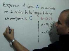 Area de un círculo en función de la longitud su circunferencia: Julio Rios explica cómo expresar el área de un círculo en función de la longitud de su circunferencia. Se determina el dominio y el rango de la función resultante.
