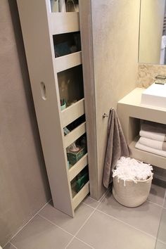 Small bathroom storage cabinet built in bathroom storage cabinet built in 1325 brilliant bathroom shelves and integrated storage space for your . bathroom shelves glasses brilliant bathroom shelves and integrated storage Bathroom Storage Solutions, Small Bathroom Storage, Small Bathrooms, Shower Storage, Kitchen Storage, Tiled Bathrooms, Dream Bathrooms, Bathroom Vanities, Small Space Bathroom