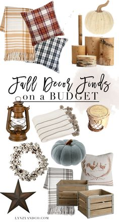 A roundup post of the best fall decor on a budget! Plaid throws, cozy pillows, candles that smell like heaven and so many more amazing decor finds!