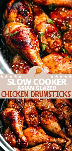 Soy sauce, sriracha, honey and balsamic vinegar bring amazing flavor to these super tender Slow Cooker Asian Glazed Chicken Drumsticks! You're going to love this easy chicken dinner recipe. #slowcookerchicken #chickendrumsticks Easy Chicken Dinner Recipes, Fun Easy Recipes, Appetizer Recipes, Real Food Recipes, Cooking Recipes, Turkey Recipes, Appetizers, Large Slow Cooker, Best Slow Cooker