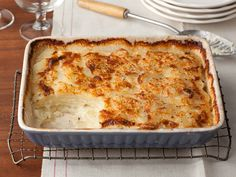 Recipe of the Day: Tyler's Potato Gratin For the most comforting potato side of all, bake thinly sliced potatoes in cream laced with thyme, garlic and nutmeg. Topped with grated Parmesan and baked, the potatoes reach tender decadence at their core and a golden brown crust on top. With over 500 top reviews, your casserole dish has never been used for anything better.