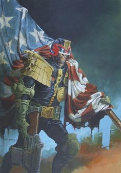 Dredd, White & Blue! Classic Judge Dredd in patriotic mood updated by veteran art droid, John Burns, from his StarScan on the rear cover of Prog 836 (22May'93).