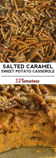 Salted Caramel Pretzel Sweet Potato Casserole
