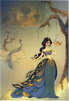 From The Art of the Disney Princess - an absolutely gorgeous, Mughal-influenced (is Mughal the word I want?) Jasmine.