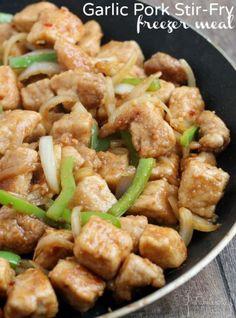 Easy Garlic Pork Stir-Fry Freezer Meal - easy to prep, easy to make
