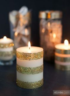Glitter & Tape DIY Candle