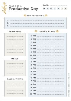 To Do Planner, Daily Planner Pages, Daily Planner Printable, Study Planner, Monthly Planner, Bullet Journal Writing, Bullet Journal Ideas Pages, Day Planner Template, Daily Schedule Template