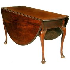 Large Mahogany Queen Anne Oval Drop-leaf Table, Trifid Feet