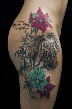 tiger flowers tattoo colorful