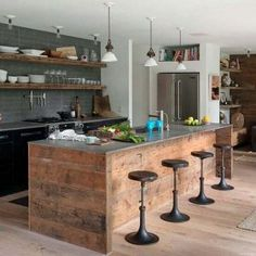 Stylish Industrial Kitchen Design Ideas 44