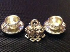 DOLLS HOUSE SALT AND PEPPER SET OR SILVER CUP AND SAUCER X 2 SET | eBay