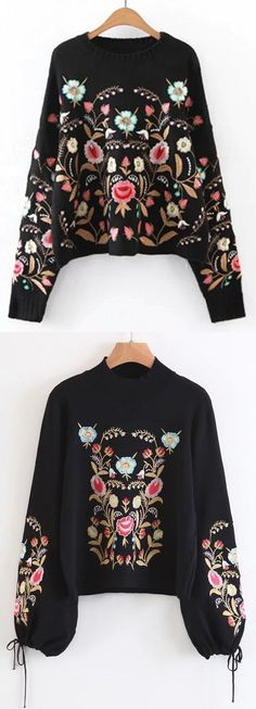 Up to 70% OFF! Oversized Floral Embroidered Sweater. Zaful,zaful.com,zaful online shopping, sweaters&cardigans, sweater,sweaters,cardigans,choker sweater,chokers,chunky sweater,chunky,cardigans for women, knit, knitted, knitting, knitwear, cardigan, cardigan outfit,women fashion,winter outfits,winter fashion,fall outfits,fall fashion, halloween costumes,halloween,halloween outfits. @zaful Extra 10% OFF Code:ZF2017 Indie Fashion Winter, Fashion Fall, Autumn Winter Fashion, Boho Fashion, Fashion Beauty, Womens Fashion, Tägliche Outfits, Cardigan Outfits, Winter Outfits