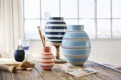 New colors and pattern for Danish Kähler vases.