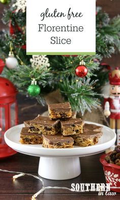 Recipe: Easy Florentine Slice (Gluten Free & Egg Free) (Southern In-Law) Recette: tranche florentine facile (sans gluten et sans oeuf) Sugar Free Recipes, Gf Recipes, Bark Recipe, Slice Recipe, Sans Gluten, Gluten Free, Chocolate Coating, Chocolate Dipped, Biscuit Bar