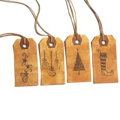 Handmade Rustic Christmas Gift Tags - Hand Stained Tags - Set of 8