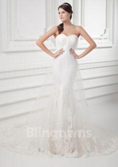 Zipper Sweetheart Tulle Taffeta Appliques Mermaid Sleeveless Sweep White Wedding Dresses