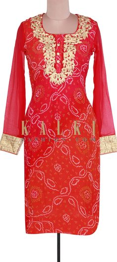 Kurti featuring in pink and orange bandhani georgette. Neckline is enhanced in zari and gotta patti embroidery. Bandhani Dress, Punjabi Salwar Suits, Dress Suits, Kurtis, Beautiful Dresses, Leggings, Indian, Embroidery, Free Shipping