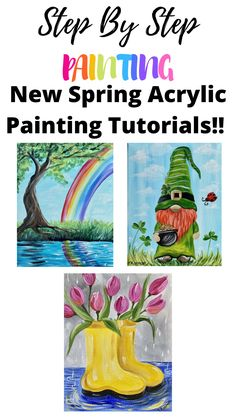 Acrylic Painting Tutorials, Diy Painting, Painting & Drawing, Kids Canvas, Diy Canvas Art, Lotus Flower Art, Spring Art Projects, Happy Paintings, Beginner Painting