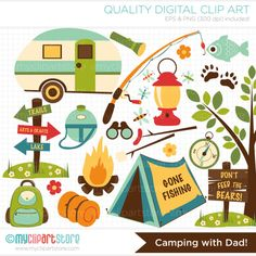 Clipart - Camping met papa / vissen / Vaderdag - digitale illustraties (directe Download)