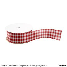 A Classic 'Custom Color White Gingham Pattern Grosgrain Ribbon' perfect for this Christmas time.