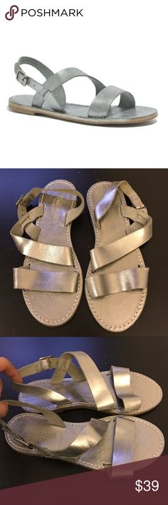 Madewell Slingback Sightseer Sandal NWOT Madewell Slingback Sightseer Sandal in silver. -Size 6. -Softly textured leather. -Slide-them-on shape. -Leather upper and lining. -New without tags. Never worn.   NO Trades. Please make all offers through offer button. Madewell Shoes Sandals