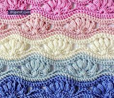 Crochet Ripple Puff Stitch Tutorial - (mypicot)* ༺✿ƬⱤღ http://www.pinterest.com/teretegui/✿༻