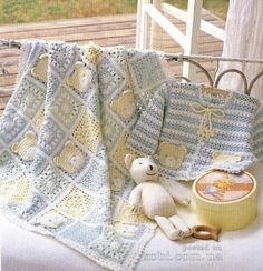 Teddy Bear Granny Square Afghan and Sweater - Inspiration only. No Pattern. : Teddy Bear Granny Square Afghan and Sweater – Inspiration only. No Pattern. Crochet Afghans, Crochet Blanket Patterns, Crochet Motif, Baby Blanket Crochet, Baby Patterns, Crochet Blankets, Baby Set, Recycled Blankets, Granny Square Projects