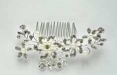 Rhinestone and Pearls, Crystal Flower Bridal Hair Comb, Bridal Hair Comb, Wedding Hair Accessories, Brides Hair Comb by TheHeartLabel on Etsy