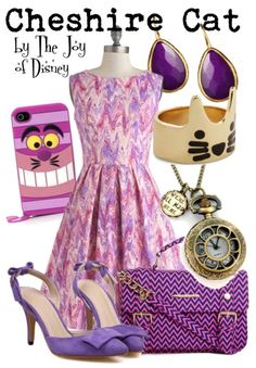 Girly outfit inspired by the Cheshire Cat from Alice in Wonderland!