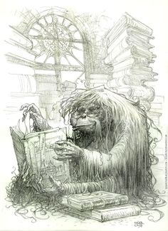 The Librarian of Unseen University. The Genius of Terry Pratchett. A spell gone awry caused the primate facade, but he has decided to stop looking for a counter-curse, as the body of an orangutan is useful for a librarian. (Long arms and swinging ability make for quick retrieval from the stacks