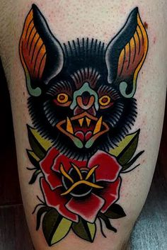 12 Dark Traditional Bat Tattoos | Tattoodo
