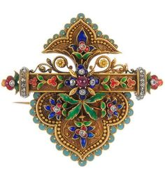A mid 19th century 18ct gold, enamel and gem-set brooch, circa 1865. The diamond point and enamel floral spray with cannetille trefoil surround, to the similarly-designed surmount, bisected by a ruby, diamond and enamel floral bar.