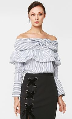 Joy Off Shoulder Top in Thin Blue Stripes