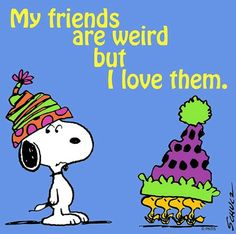"""""""My Friends are Weird, but I Love Them"""", Snoopy and Woodstock. You guys are absolutely. Peanuts Cartoon, Peanuts Snoopy, Schulz Peanuts, Snoopy Cartoon, Snoopy Love, Snoopy And Woodstock, Minions, Hello Kitty Imagenes, Garfield"""