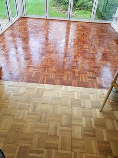 Mosaic parquet stripped filled and finished with oil. Oak Parquet Flooring, Hardwood Floors, House Extension Design, House Design, Wood Floor Pattern, Craft Room Design, Floor Trim, Swedish Design, House Extensions