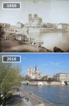 Before & After Pics Showing How The World Has Changed Over Time By Re Photos Old Paris, Vintage Paris, Paris France, Saint Mathieu, Places To Travel, Places To Visit, Then And Now Pictures, Paris City, Paris Photos