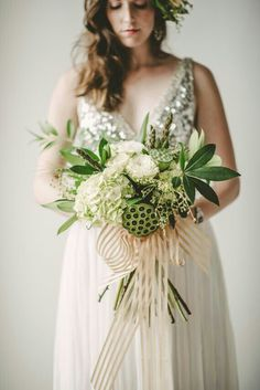 Gorgeous Green & White Bouquet Of: White Cabbage Roses, White Hydrangea, Green Lotus Pods, Green Wheat, + Several Other Varieties Of Greenery/Foliage Hand Tied With A Champagne Striped Organza Ribbon