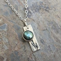 Labradorite and Sterling Silver Bar on Sterling Silver Chain, 16 inches. Labradorite on Chain Choker