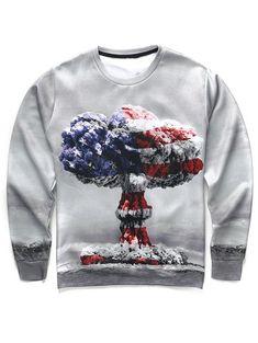 7a84060a73c7 Round Neck Long Sleeve 3D Mushroom Cloud Print Men s Sweatshirt - COLORMIX  XL Long Sleeve Sweater