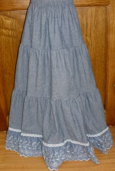 women's chambray and lace dresses | Girl Long Full Tiered Blue Chambray Denim Lace Skirt modest 8 10 12 ...fo rm next to you and ht ebrm in short ones  can pin it up on sides for alittle hi-lo action with cute shoes--just the ankles :)