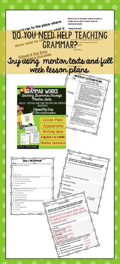 Do you need help teaching proper nouns and synonyms? This product: Grammar Works with Mentor Text I Need My Monster is perfect. Perfect for teaching Grammar skills by reading and using this text. The Grammar skills covered are proper nouns and synonyms. Grammar Skills, Teaching Grammar, Help Teaching, Teaching Reading, Guided Reading, Mentor Sentences, Mentor Texts, Subject And Predicate, Reading Comprehension Strategies