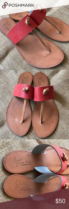 Joie a la Plage Vero Cuoio Nice Knot Sandals Joie a la Plage Nice Sandals. Saffiano leather in a bright red orange. Excellent condition, worn on outer sole.  Made in Italy. Joie Shoes Sandals