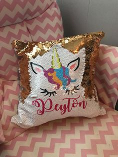 Super cute customized mermaid/ sequin style Unicorn pillow. Perfect addition to complete your little Girls room! One side is white sequins with a beautiful pic of a unicorn and your choice of name. Run your hand across the sequin and it flips to a beautiful gold sequins pillow! The
