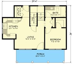 Take out wall (put in beam for support if necessary) to downstairs bedroom, open up the space entirely. Dutch door out the back past the utility/mudroom baby! Small Cottage House Plans, Small Cottage Homes, Cabin House Plans, Cottage Plan, Craftsman House Plans, Small Homes, 2 Bedroom House Plans, Small House Floor Plans, Small House Design