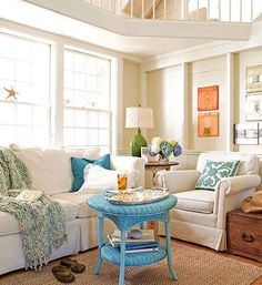 Easy & Bright Paint Ideas to Bring Coastal Colors to your Living Room (while Leaving Walls White)! http://www.completely-coastal.com/2015/03/easy-paint-ideas-living-room-add-color.html: