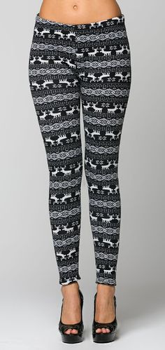 Navy Fair Isle Winter Leggings I'd break my legs in the heels, but some boots and a long sweater would be good