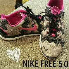 ??SUPER CUTE NIKE FREE 5.Os!?? Super cute Nike Free 5.0 in Hot Pink, Black, and vari I s shades of gray. Only selling because I had an injury and will not be able to wear more flexible shoes. Totally heartbroken! These are gently worn and are super comfortable! You'll love them! Nike Shoes Athletic Shoes
